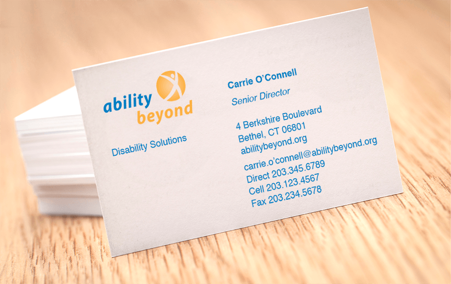 The AB staff business cards received the same upgrade in branding strategy to promote their solution-oriented mission.
