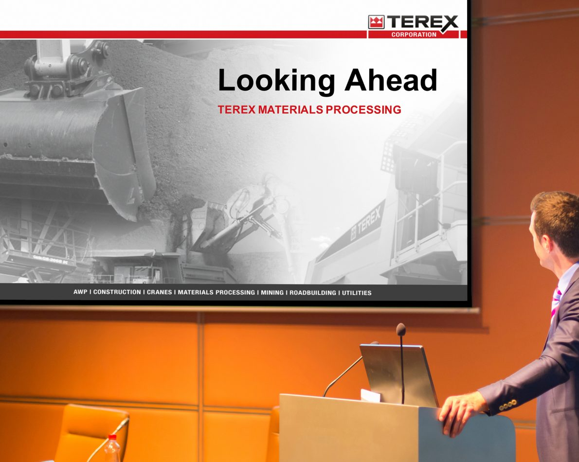 A system of standardized PowerPoint templates was created for each Terex business unit