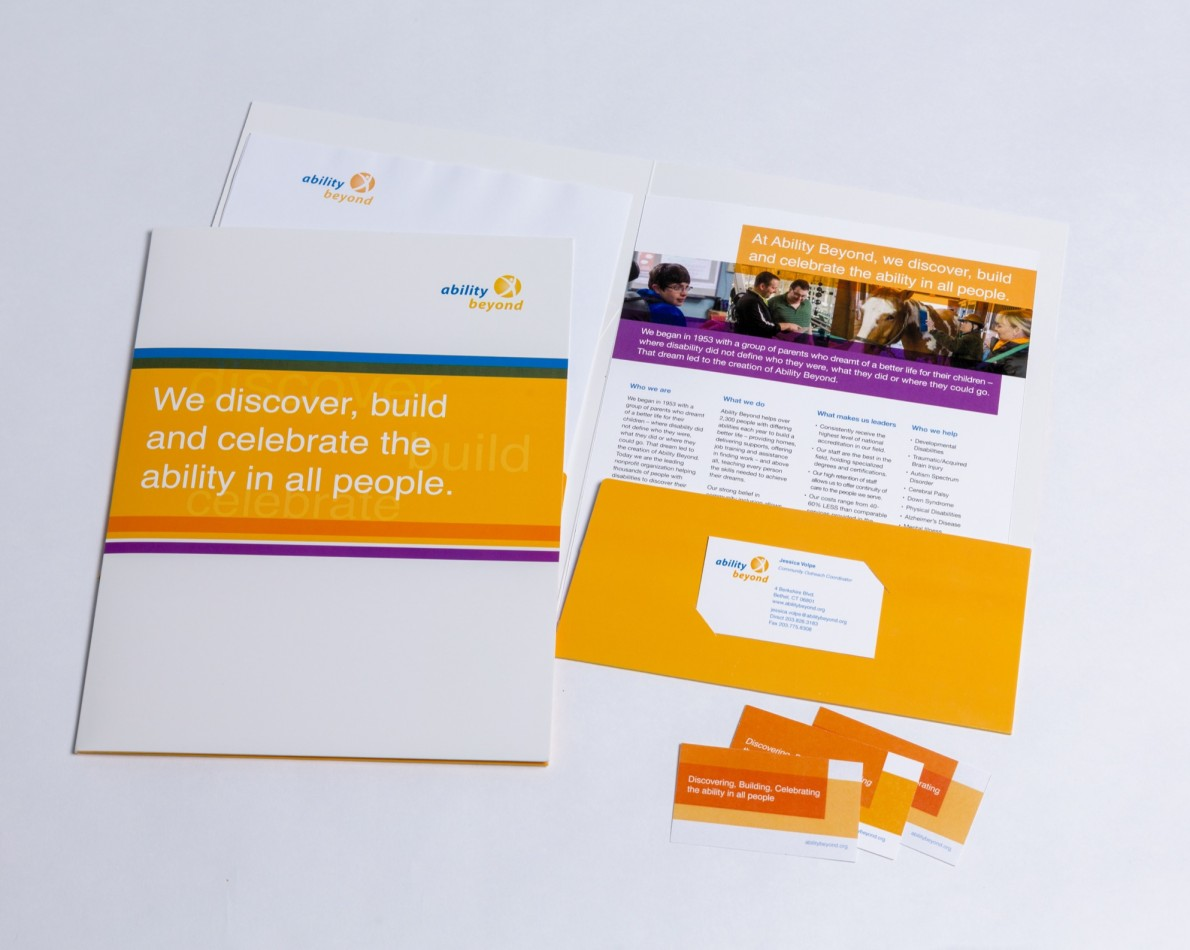 Professional stationary is necessary at an organization that focuses on community engagement – a plain folder or business card is not nearly as effective or memorable as branded items featuring a distinct color palette and imagery.