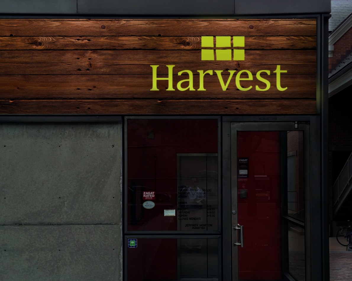 Signage options for one of the Harvest locations.