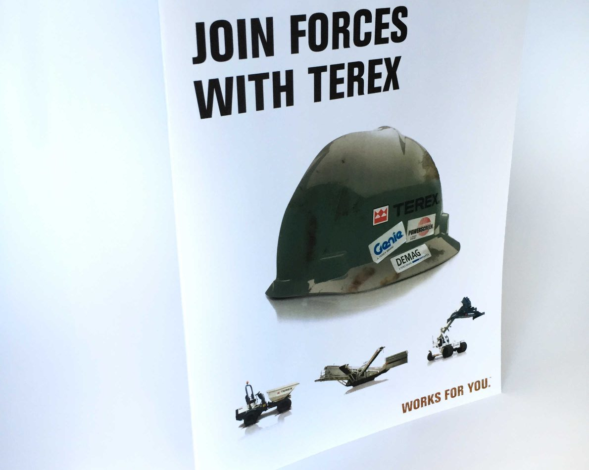 Targeting the military audience, this brochure highlighted the benefits of working with Terex