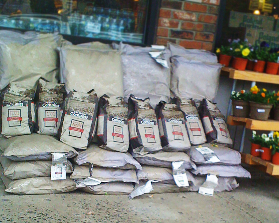 The small Stone Barns store creates a home-grown atmosphere – here you can see their compost mixture ready for purchase.