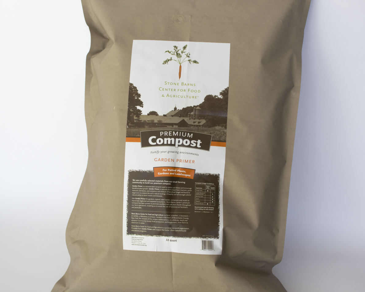 Stone Barns recognizes that community members might want to start living more sustainable, environmentally-conscious lives but maybe aren't sure where to start. This compost mixture takes the guesswork out of the process and stays true to their brand identity.