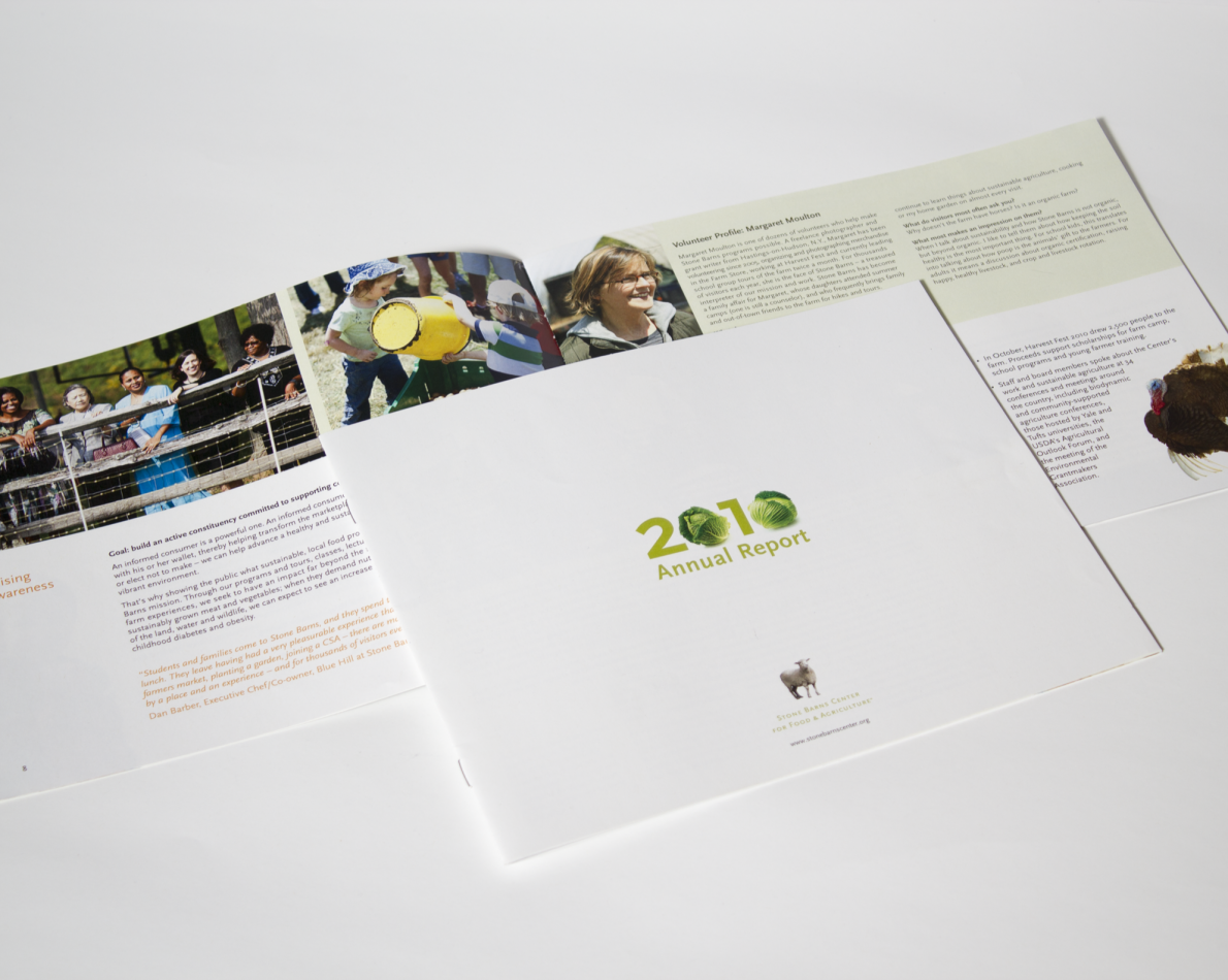 Annual reports are not usually very exciting, but we created this report to showcase the vibrant life of the Stone Barns farm and community with engaging photos and colorful brochure design.