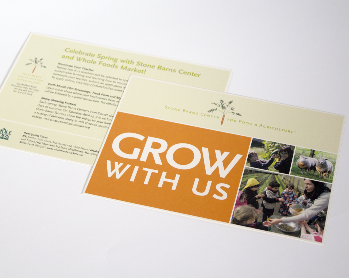 Stone Barns scored a great partnership with Whole Foods and we wanted to celebrate that achieving while informing everyone of the benefits of partnering with a large distributor. Our design demonstrates this big step for Stone Barns and puts all the necessary information in one easy-to-read place.