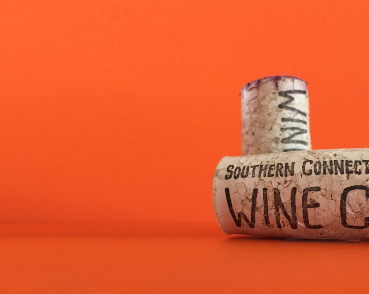 The logo printed on the side of a cork.
