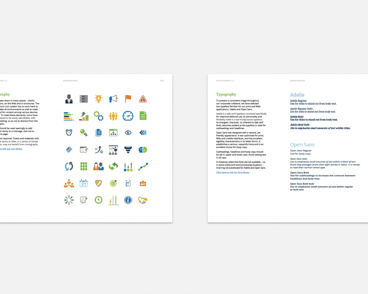 The Brand Guide features numerous real-world sections – including the proper use of iconography, as well as typography.