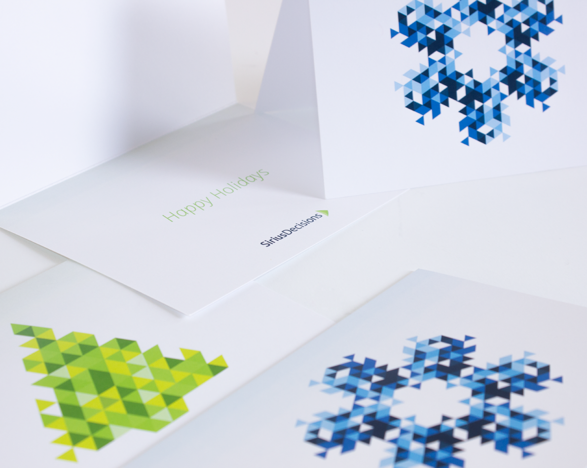 Even the company's 2015 Holiday Cards reflected the shapes, colors and attitude of the enterprise-wide rebranding.