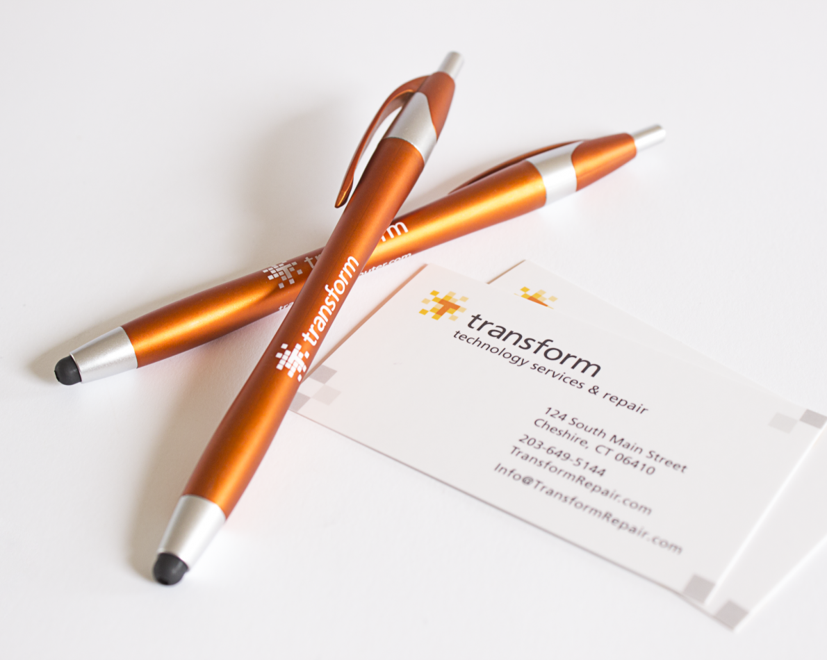 A logo that works on the side of a pen and on a business card.
