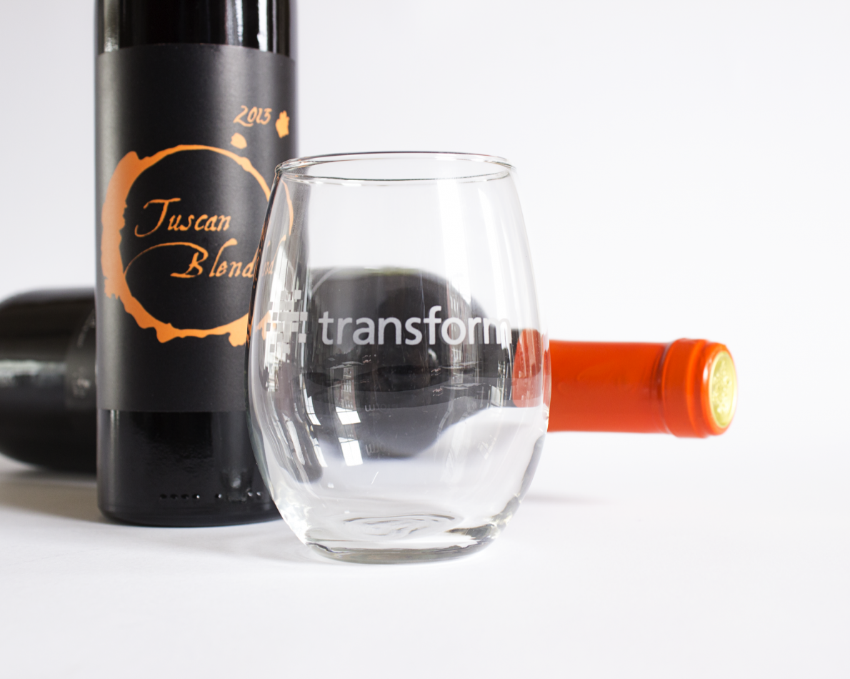 We designed custom labels for gift-wine and custom wine glasses.