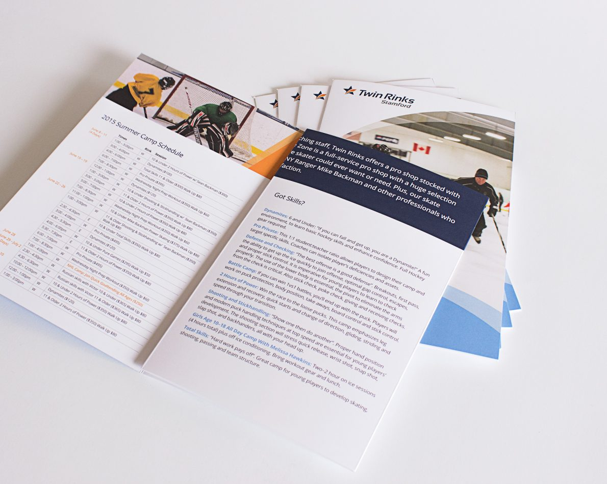 One of many program-specific brochures we designed for Stamford Twin Rinks.