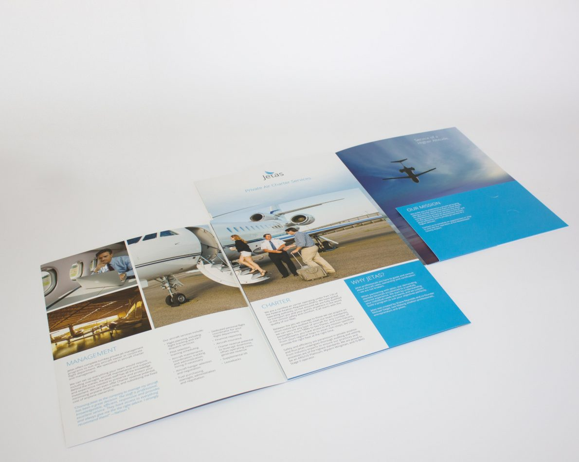 The brochure was designed with a built-in folder for relevant documents.