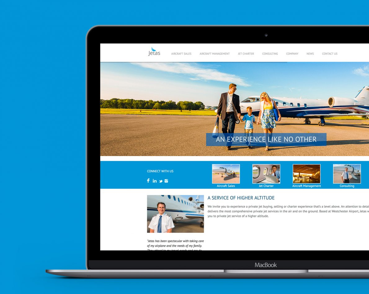 The Jetas homepage uses large images to communicate the sense of space in the air.