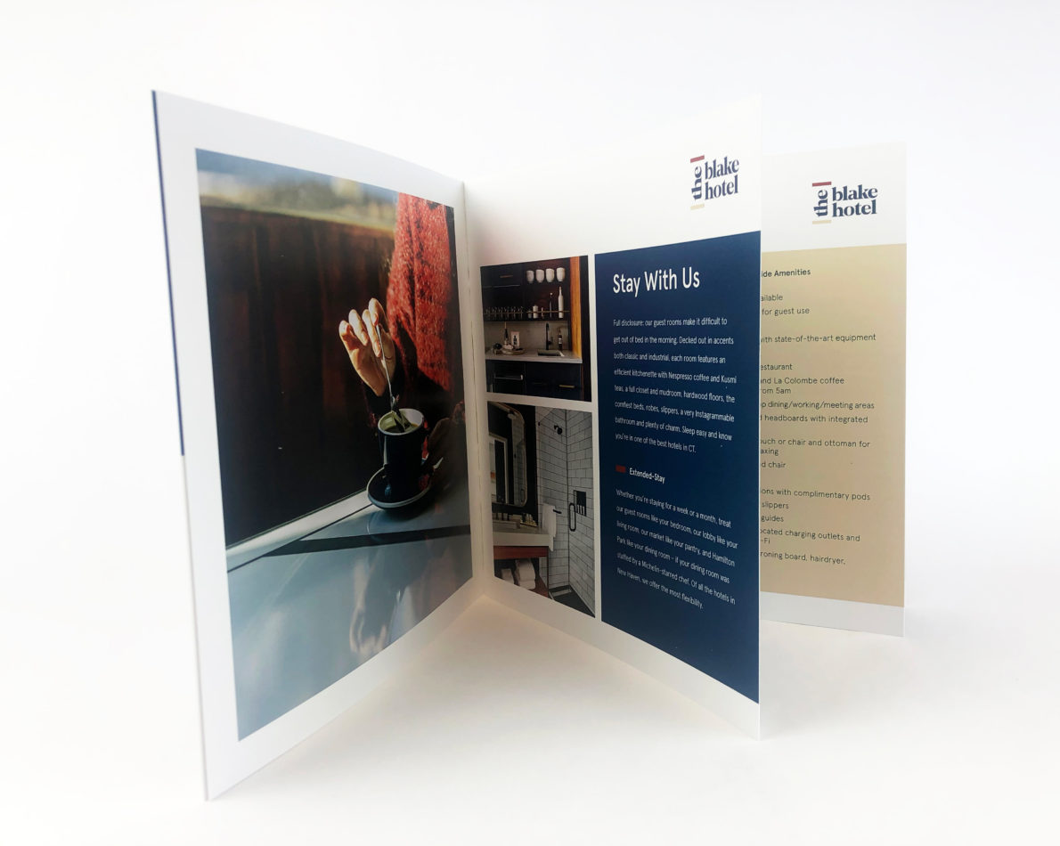 from overview brochure to branded in-room materials.